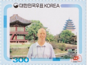 NZ's commissoner immortalised on a personalised Korea Post issue  - one of thousands to do so at the exhibition.