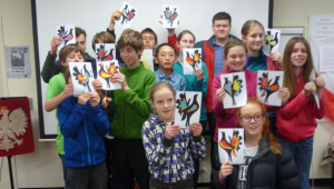 The campers at the Polish Heritage Trust Museum with their wycinanki creations, a Polish paper cutting traditition.