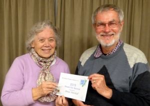 Brian being presented with his award by Barbara Street, Northern delegate to Federation.