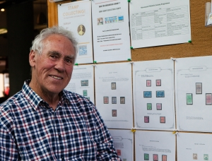 Colin Dyer in front of his display at the Palmerston North library