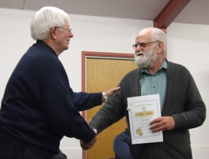 Alan Craig receiving his award from Barry Scott, NZPF Northern Region delegate